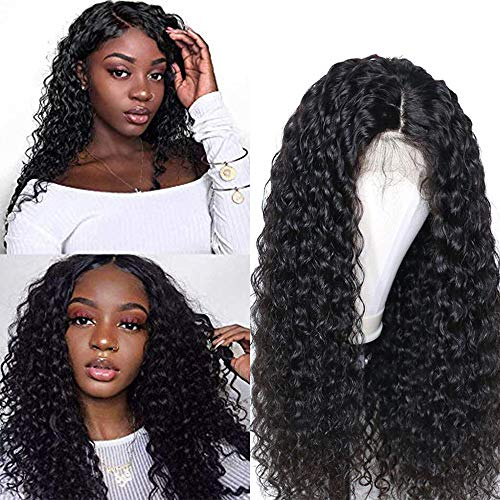 Larhali Brazilian Deep Wave Lace Front Wigs Human Hair Pre Plucked Lace Front Deep Curly Wigs with Baby Hair Glueless Lace Wigs for Black Women 150% Density Unprocessed Virgin Human Hair(18inch)