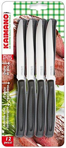 Kaimano Dinamik Steakmesser, Edelstahl, Schwarz, 28 x 10 x 2 cm, 12-Einheiten