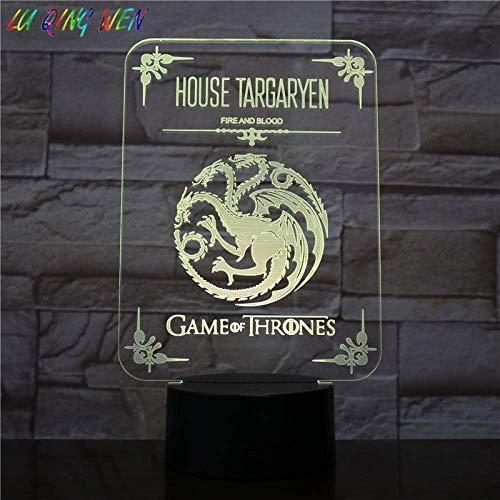 Lámpara de ilusión 3D Luz de noche LED Casa Targaryen de The King's Landing Sensor táctil USB para niños Festival de dormitorio Regalo decorativo Juego de tronos Lámpara de escritorio