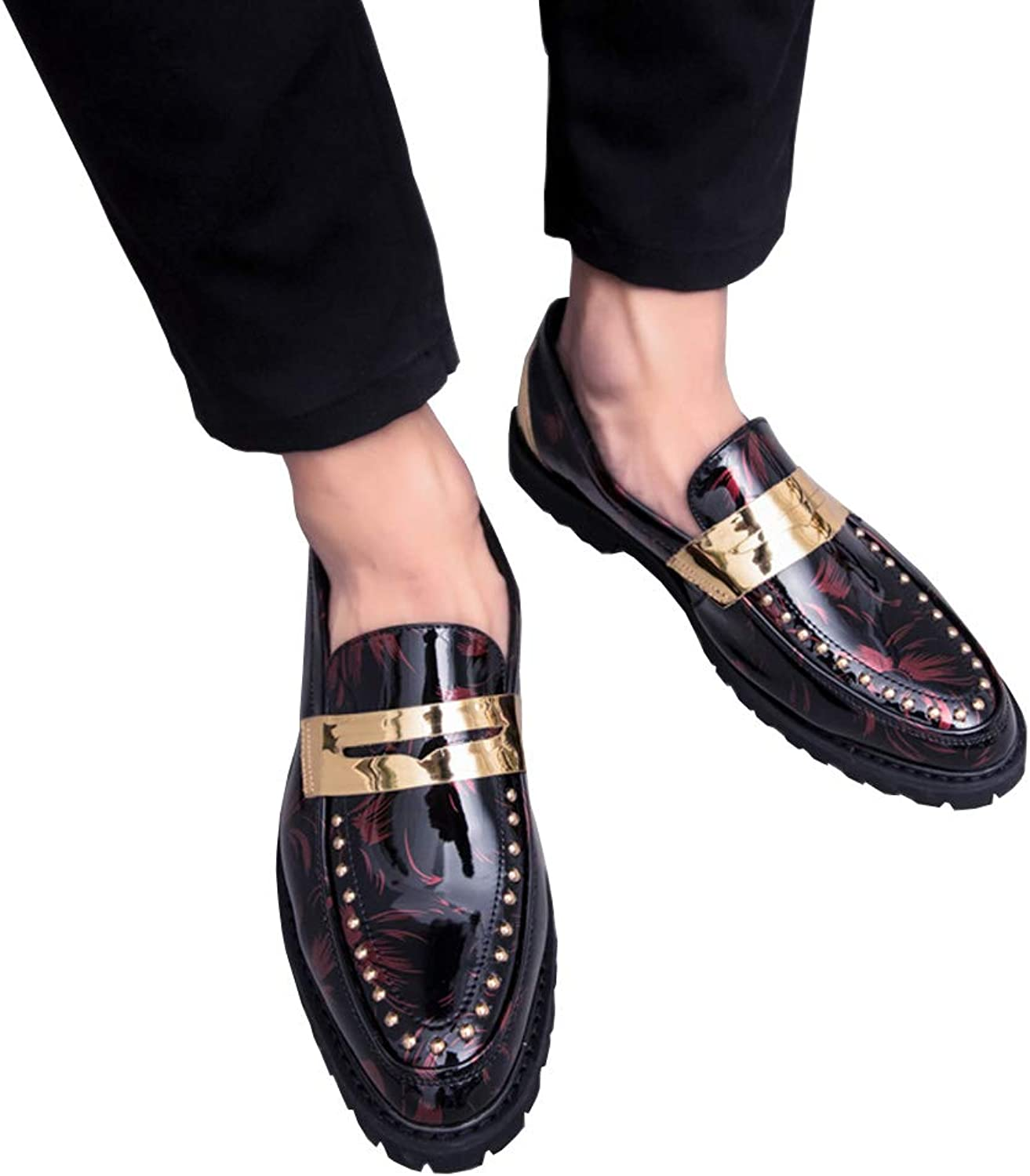 JHHXW Leather shoes low shoes, wedges, shiny, casual shoes, rivets, hotel work, men
