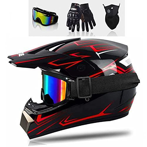 Motocross Helm Crosshelm Set mit Brille Handschuhe Maske Fullface Helm MTB Kinder Cross Helm Fahrrad Enduro Downhill BMX Off Road (B, M)