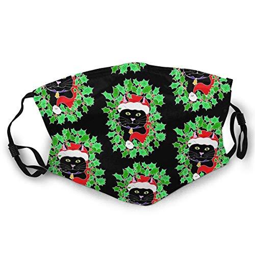 Staub Mundschals Full Face GuardSüße Schwarze Katze mit Einer Weihnachtsmütze Design Socken-sichere Sonnencreme Turban Face GuardHeaddress Mundschals