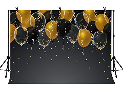 LYLYCTY 7x5ft Black and Gold Ballons Backdrop for Party Photography Background Happy Birthday Party Backgrounds Photo Studio Booth Kids Cake Table Banner LYZY1027