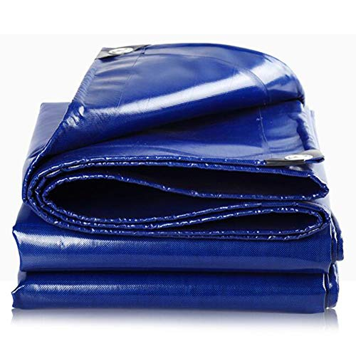 Heavy Duty PVC Tarps, Waterproof Tarpaulin With Grommets, Mould Resistant Fire Protection, Rain Cloth,For Outdoor Garden Furniture Greenhouse,550g/m², 0.45 Mm(Color:Blue,Size:5 × 6 m)