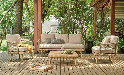 Au jardin de Chloé | Salon de Jardin en Corde tressée et Bois d'acacia, Fidji • 1 canapé, 2 fauteuils, Une Table Basse •