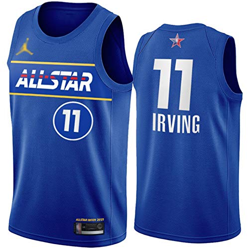 WAIY Kyrie Irving # 11 Brooklyn Nets 2021 New All-Star Basketball Jersey, Men's Basketball Fan Jersey Profession Product Product PRODUCTE STRETE PROPLETABLE Limpieza repe Blue-XXL