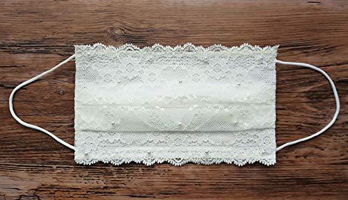 Hochzeit Braut Maske 3-lagig Medizinisch Vliesmaske mit Filter Mundmaske Gesichtsmaske verziert mit Spitze Perlen weiß ivory nicht waschbar