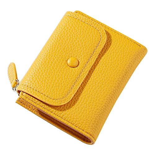 Aeeque - Monedero para mujer, piel sintética, color liso, mini bolsa de almacenamiento con cremallera, amarillo (Amarillo) - AEQB000022YE