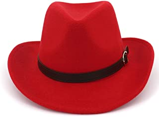 HAOHAO Stylish Men Women Wool Western Cowboy Hat with Leather Belt Jazz Hat Outdoor Casual Sombrero HombreHat Size 56-58CM (Color : Red, Size : 56-58)