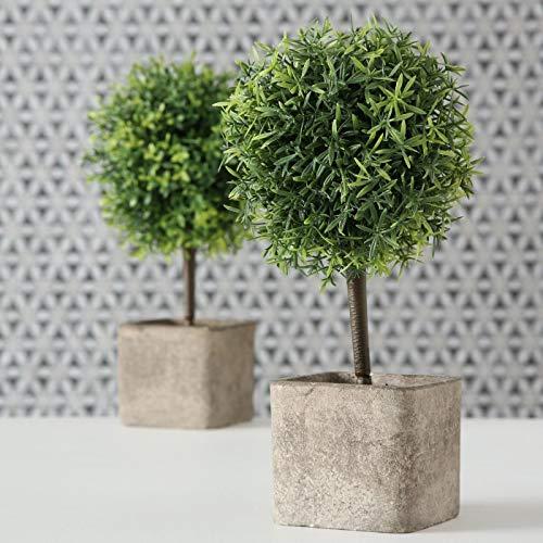 Künstliche Pflanze, Pflanzen, Topfpflanze, 2er Set, Deko, Gartendeko, Buchsbaum