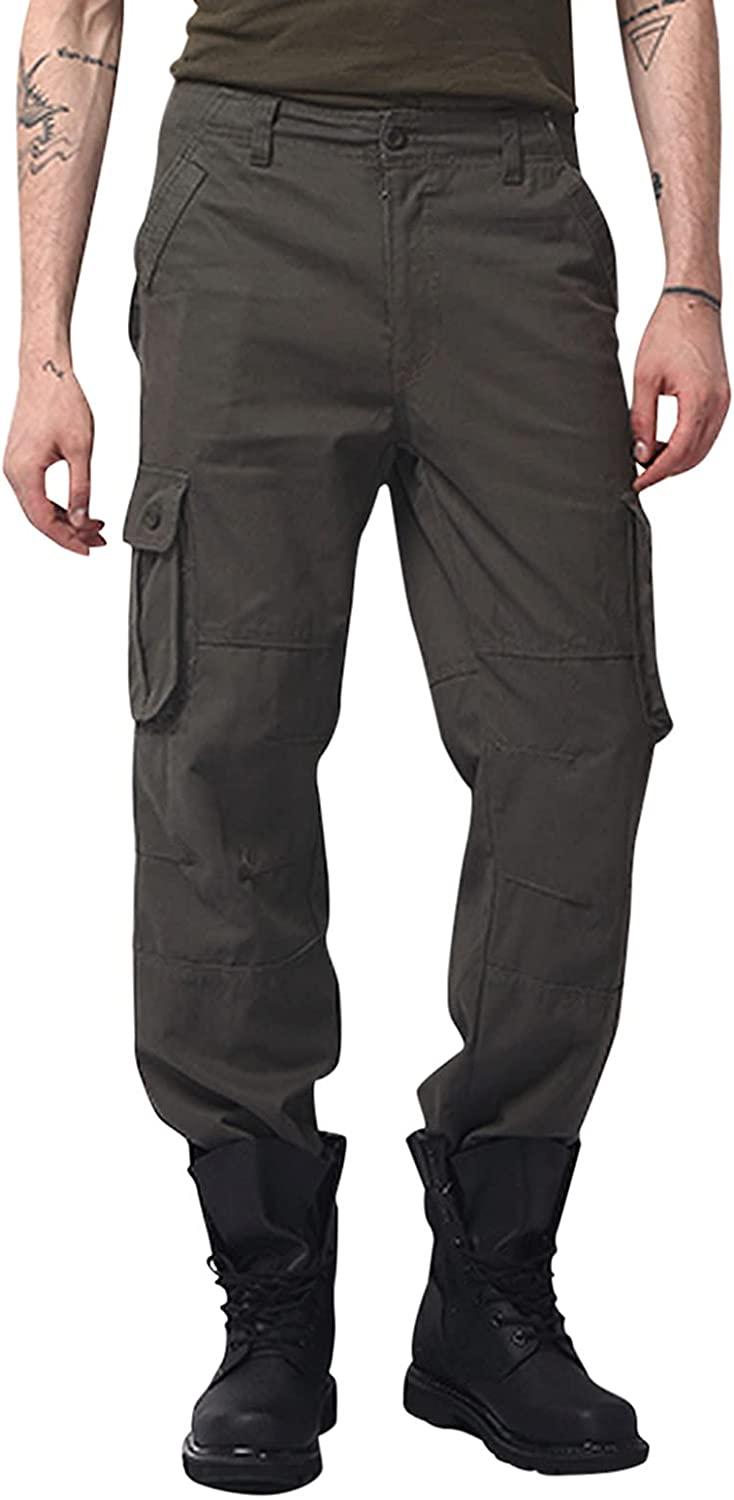 WUAI-Men Outdoors Cargo Hiking Pants Relaxed Fit Multi-Pockets Lightweight Stretch Flat-Front Chino Jogger Sweatpants
