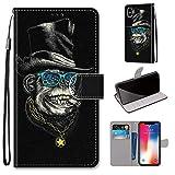 Miagon Flip PU Leder Schutzhülle für iPhone XS/X,Bunt Muster Hülle Brieftasche Case Cover Ständer mit Kartenfächer Trageschlaufe,Affe -