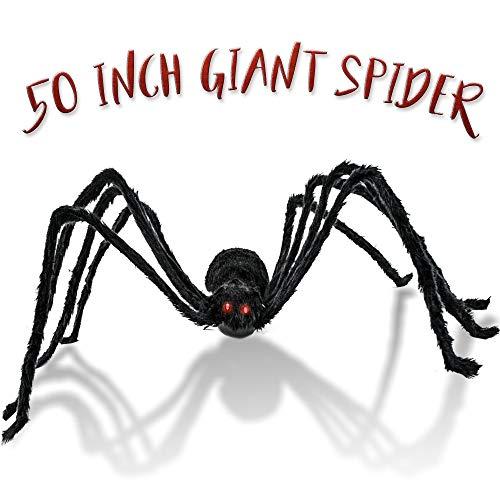 THE TWIDDLERS Ragno Gigante da 127 cm - Ideale Come Decorazione di Halloween. Si muove e Fa rumori, Perfetto per Tutte Le Feste a Tema Halloween