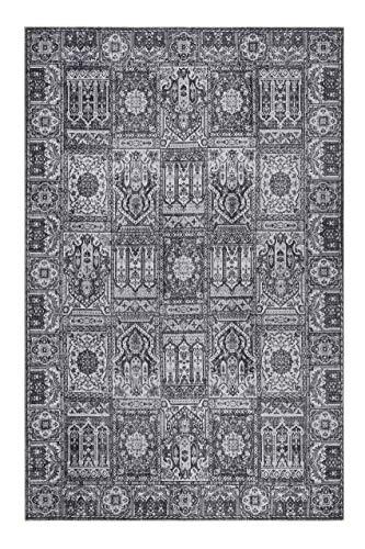 Wecon Home I Kurzflor Vintage Teppich I Silhouette I Fresh Bachtiar WH-19104-04 (60 x 100 cm, grau anthrazit)
