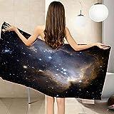 CGBNDS Toalla de Playa Grande 75X150cm Estrellas del Universo Negro Toalla de baño con Muy absorbentes, Ligeras y de máxima suavidad Ideal para Playa Picnic Acampada o Actividad al Aire Libre