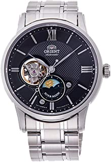 Orient RA-AS0002S10A Men's Stainless Steel Black Dial Sun and Moon Open Heart Automatic Watch