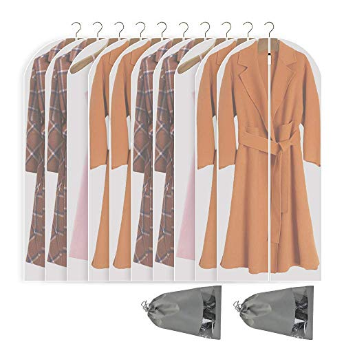 Perber Hanging Garment Bag Lightweight Clear Full Zipper Suit Bags (Set of 10) PEVA Moth-Proof Breathable Dust Cover for Closet Clothes Storage - 24'' x 55''/10 Pack
