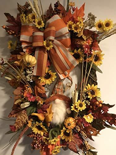 Rustic Fall wreath Autumn wreath Fall Farmhouse wreath Fall Wheat and Cotton swag Fall wreaths for front door Thanksgiving wreath