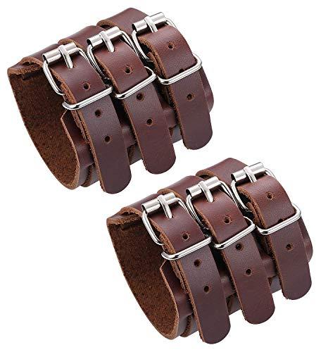 LOLIAS 2 PCS Bracelet Cuir Véritable pour Hommes Femmes Triple Sangle Large Bracelet Manchette Wrap Gauntlet Bracelet Fixation Bras Armure Ceinture Unisexe Couple,Noir/Brun