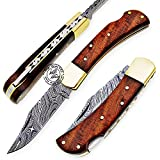 Beautiful Rose Wood Handmade Damascus Steel Folding Pocket Knife with Back Lock 100% Prime Quality