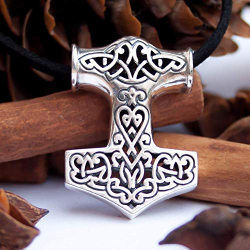 Thors Hammer Mjolnir Necklace 925 Sterling Silver Viking Pendant with Filigree Celtic Knots/Nordic Amulet/Norse Mythology Jewelry for Men Women/Medium Size/Handmade Unique Design