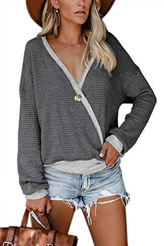 Albe Rita Womens Deep V Neck Wrap Sweaters Long Sleeve Waffle Knit Tops Shirts Pullover, Dark Grey, M