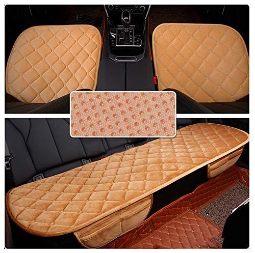 GUOCU Sitzkissen Universal Sitzauflagen Autositzbezüge BambusKohle PU Leder Sitzauflage,Khaki,Vordersitz & Rücksitz