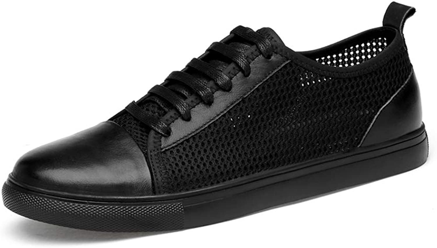 Men's PU Casual shoes Non-slip Breathable Mesh shoes Cozy Front tie Dress shoes Lightweight Low help Sneakers,Black,38