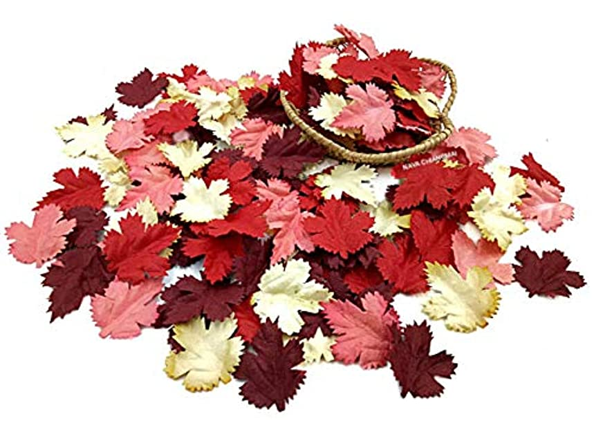 NAVA CHIANGMAI 100 pcs Mulberry Paper Maple Leaves Artificial Leaves Craft Leaves for Scrapbooking Wedding Doll House Supplies Card (Red Tone)