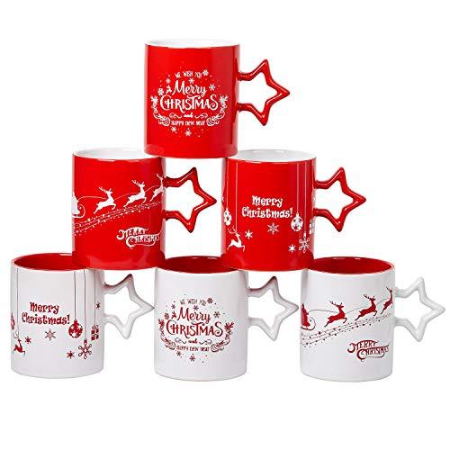 Kaffeetassen mit Weihnachtsmotiven und Schneeflocken-Sterngriff, 400 ml, 6 Stück