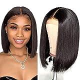 Lace Front Wigs Human Hair Wigs 8 Inch Short Bob Wigs for Black Women Human Hair 4x4x1 T-Part Lace Frontal Closure Wig Brazilian Remy Virgin Straight Hair Bob Wigs Human Hair Wig Natural Black Color