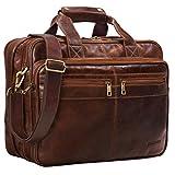 STILORD 'Alexander' Lehrertasche Herren Leder Vintage Aktentasche Laptoptasche Bürotasche Businesstasche groß XXL Umhängetasche mit Dreifachtrenner, Farbe:antik - braun