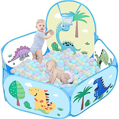 GOLDGE Piscina Palline Canestro per Bambini con 50 Palline, 114*38 cm Bambini Recinto Parco Giochi Giardino, Come Tenda, Contenitore per Giocattoli
