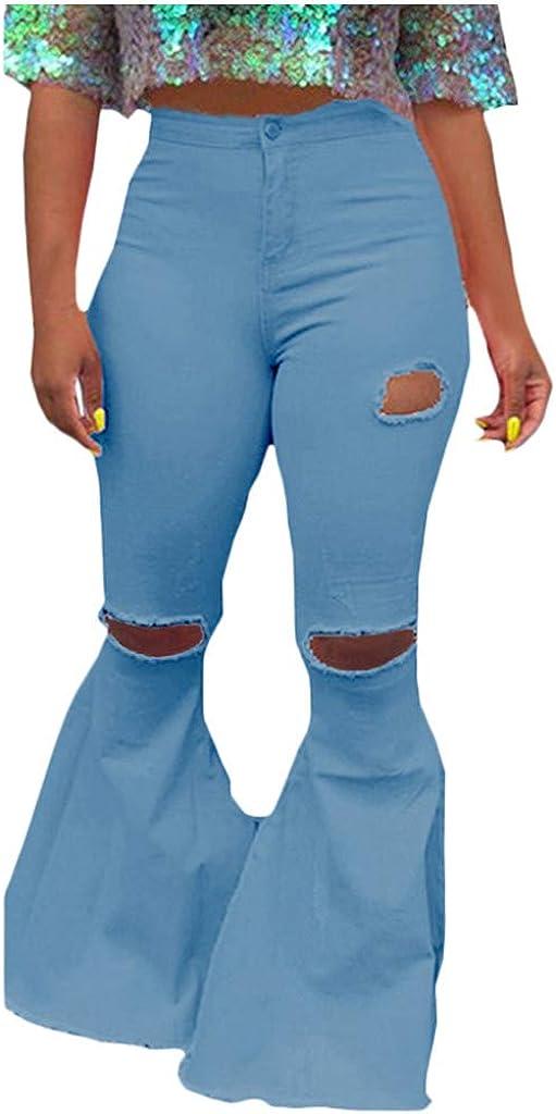 FUNEY Lady's Fashion Wide Leg Flare Jeans Bell Bottom Raw Hem Denim Pants Skinny Stretch Ripped Jeans for Women