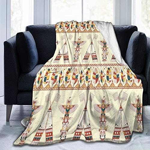 Manta mullida, colorida con motivos indígenas indígenas nativos americanos con plumas tótem, manta ultra suave para bebé, manta para dormitorio, cama de TV de 152 x 127 cm