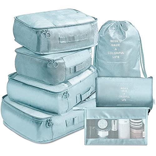 BAIGM Organizador de equipaje, organizador multifuncional para maletas, set de 7 piezas, impermeable, organizador de viaje, ropa, cosméticos, bolsa para zapatos para vacaciones y viajes