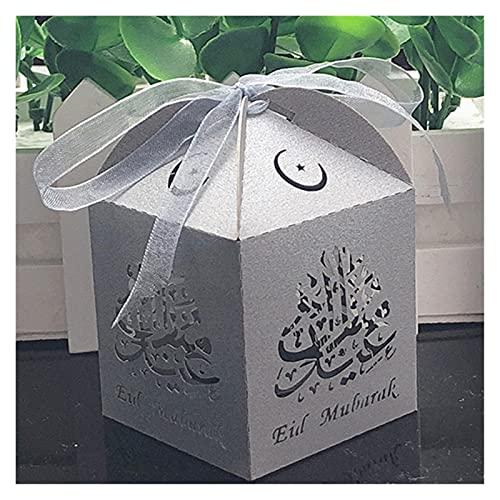 MAUAP Caja de Dulces Favor de Caja de Regalo Decoraciones de Ramadán Bricolaje Papel Feliz islámico musulmán al-Fig Eid Suministros de Fiesta (Color : Silver, Gift Box Size : 100pcs)
