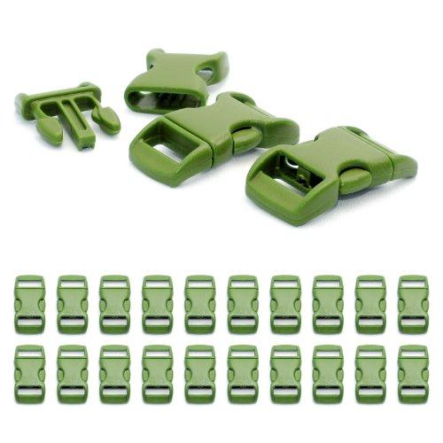 """Fermoir à clip en plastique, idéal pour les paracordes (bracelet, collier pour chien, etc), boucle, attache à clipser, grandeur: 3/8"""", 29mm x 15mm, couleur: vert, de la marque Ganzoo - lot de 20 fermoirs"""