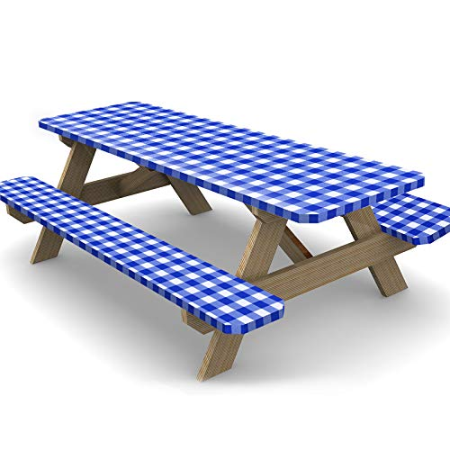 Ruisita 3 Piece 72 Inches Vinyl Picnic Table and Bench Fitted Tablecloth Cover Picnic Table and Bench Fitted Tablecloth for Picnics Indoor and Outdoor Dining, Blue and White
