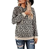 Bravetoshop Drawstring Hoodies for Womens Long Sleeve Leopard Print Cute Pullover Sweatshirt(Brown,M)