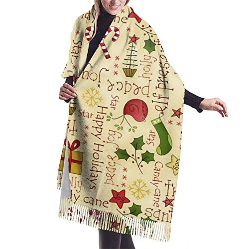 Navidad acebo caramelo bastón regalos mujer bufanda borla chal estola gran abrigo impresión capa para damas