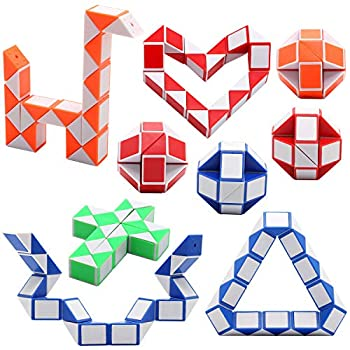 Yeetec 9 Pack 24 Blocks Magic Speed Cubes Mini Snake Cube Mini Plastic Puzzle Cube Toy for Kids Party Bag Fillers Party Supplies Random Color