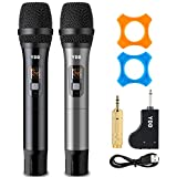 YDD Bluetooth Wireless Microphone UHF Wireless Dual Handheld Dynamic Mic System Set with Rechargeable Receiver for Karaoke Singing Wedding DJ Party Speech Church Class Use(Black and Grey)