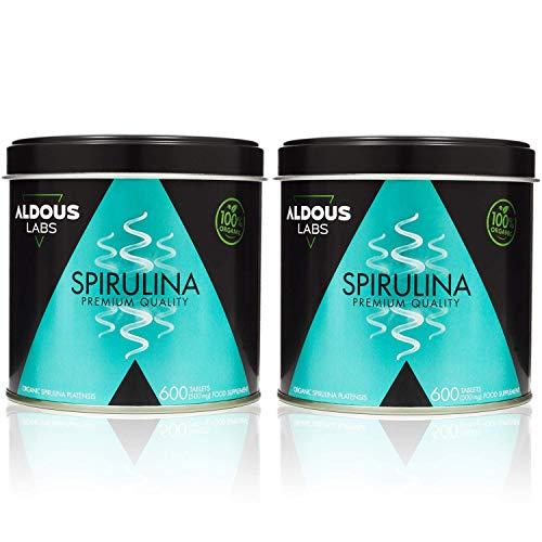 Spirulina Biologica Premium per 18 mesi   Compresse da 500 mg con Spirulina BIO al 99%   Vegan - Saziante - DETOX - Proteine Vegetali   Senza plastica   Certificazione Ecologica (2 x 600 compresse)