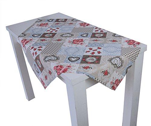 """beties""""Dorfkinder"""" Mitteldecke ca. 80x80 cm Tischdecke in großer Sortiments- und Größenauswahl - Shabby Chic für den perfekten Landhaus Style Farbe (Taupe-rot)"""
