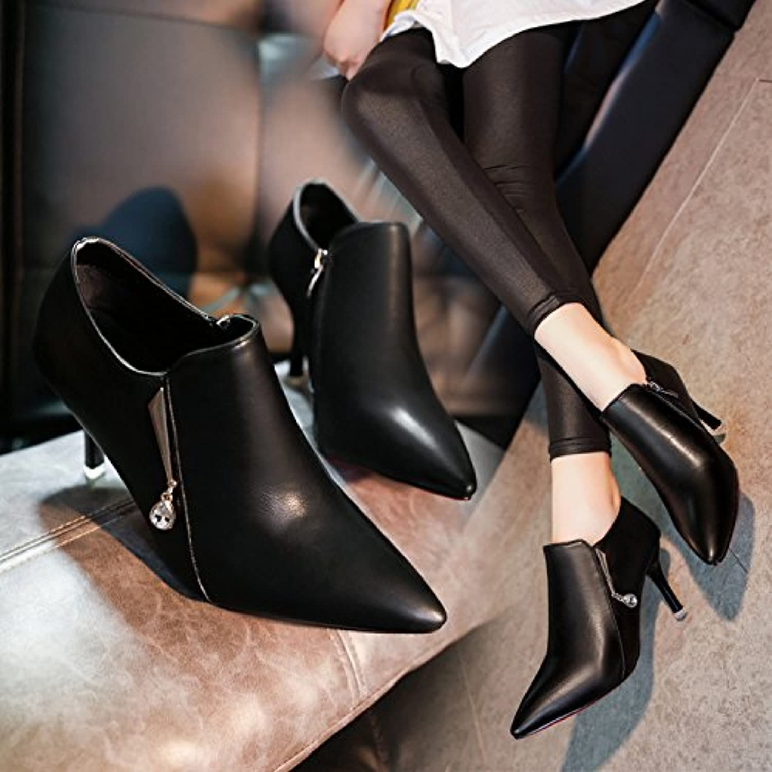 WYMBS Women's shoes Pointed High-Heeled Short Tube Short Boots Leather shoes