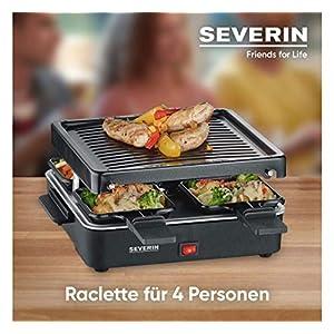 SEVERIN Mini Raclette-Grill, ca. 600 W, Inkl. 4 Pfännchen, RG 2686