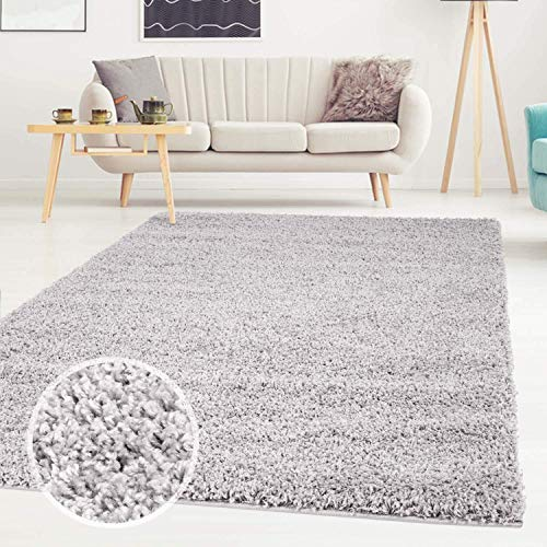Carpet City ayshaggy Shaggy Teppich Hochflor Langflor Einfarbig Uni Grau Weich Flauschig Wohnzimmer, Größe: 133 x 190 cm, 133 cm x 190 cm