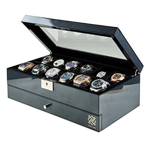 Hawk & Gable Specter Valet Premium 12 Slot Watch Box Organizer with Lock and Glass Display | Watch Box with Valet Drawer for Jewelry and Accessories | Watches Case for Men | Carbon Fiber Finish