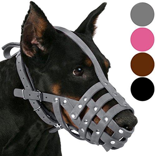 CollarDirect Maulkorb für Hunde, Leder, Dobermann, Deutscher Schäferhund, Dalmatiner, mittlere und große Rassen, Pink / Grau (L, Kastanienbraun)
